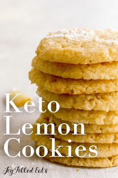 """Get your tastebuds ready, these Keto Lemon Cookies are the best. Once you try a gooey lemon cookie, you're going to be headed back to the cookie dish for """"just one more"""". The citrus flavor of the lemon zest pairs perfectly with the sweetness in each bite. Sugar Free Desserts, Low Carb Desserts, Gluten Free Desserts, Lemon Cookies, Keto Recipes, Dessert Recipes, Joy Filled Eats, Deserts, Dishes"""