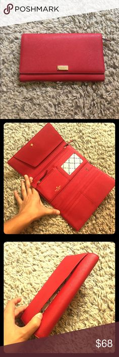 Kate Spade Clutch Wallet *OFFERS WELCOME* Never used!!! New without tag. The color is true red. It's very functional with pockets for cards, coins, photos, pen, and layers for anything else. *OFFERS WELCOME* pls also don't forget to check out my other stuff in my closet to make a bundle to get discount! xoxo kate spade Bags Clutches & Wristlets