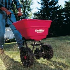 How to Use a Fertilizer and Seed Spreader:    This must-have lawn tool spreads everything you need for a healthy, attractive lawn.    Used correctly, broadcast spreaders are the most efficient way to distribute grass seed, fertilizer, weed killer and other lawn products on your yard.    -Overview  -The best operating techniques  -Buying and maintenance tips