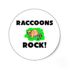 Raccoons Rock Round Sticker by AnimalShirts