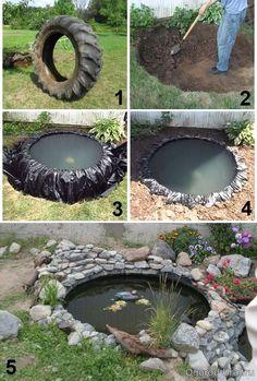 autoreifen garten How to make a small DIY pond from a tire for your garden Tire Garden, Garden Yard Ideas, Garden Projects, Garden Art, Diy Projects, Garden Crafts, Project Ideas, Garden Club, Garden Decorations