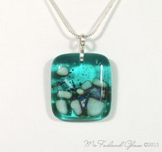 Contemporary Fused Glass Pendant Necklace Turquoise and French Vanilla Reactive Glass Sterling Silver Chain