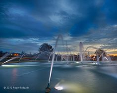 northland fountain sunset, Kansas City, MO