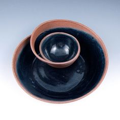 Small Red Clay Chip and Dip Serving Bowl with Black by jtceramics, $65.00