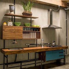kitchen Freestanding/unfitted kitchen A Lighthearted Look at Bedwetting Alarms The reactions of an o Wooden Kitchen, Rustic Kitchen, Diy Kitchen, Kitchen Dining, Kitchen Decor, Kitchen Cabinets, Free Standing Kitchen Sink, Unfitted Kitchen, Industrial Kitchen Design