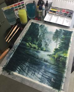 Dreamy watercolor painting with serene river and misty forest hill. Watercolor Landscape, Watercolor Paintings, Landscape Illustration, Watercolours, Gouache Painting, Painting Art, Illustration Art, Painting Inspiration, Art Inspo