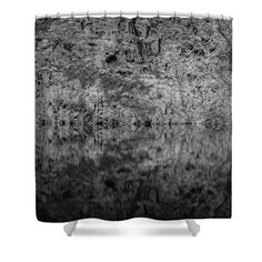 Geometries On A Mountain Lake Shower Curtain by Cesare Bargiggia