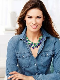 We love the classic chambray shirt from Talbots. We love it even more when it's paired with a bold statement necklace.