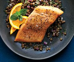 Roasted Arctic Char with Orange-Lentil Salad from Epicurious.com #myplate #protein