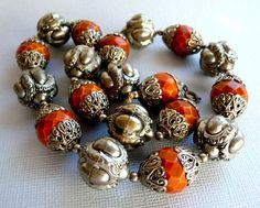 Vintage Orange Honeycomb Bead Necklace with by thejewelseeker, $35.00 #vjse2 #vintage #brides #jewelry #boebot #bestofetsy