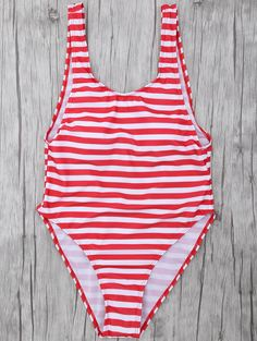 Stripe Drop Armhole Swimsuit - RED/WHITE S