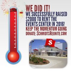THANK YOU to all the cousins who donated recently and helped us raise $2000 to rent the Clay County Regional Events Center for our world record attempt at the 2016 Schmidt Family Reunion! Let's keep the momentum going by accomplishing another funding goal: http://schmidtsreunite.com/donate/funding-goals/