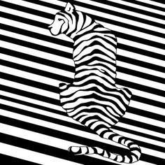 Black And White #opart of a #tiger as seen from afar and behind.