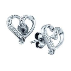 925 Sterling Silver White 0.020CT DIAMOND MICRO PAVE HEART Earrings