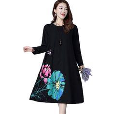 >> Click to Buy << Vestidos Loose Casual Maxi Long Dress Plus Size 2017 New Women's Fashion Cotton Linen Dresses Robe Vintage Print Spring Dress #Affiliate