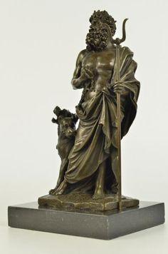 Hades Pluto & Cerberus Hell Dog Hound - Greek Roman Deities Gods Bronze Statue