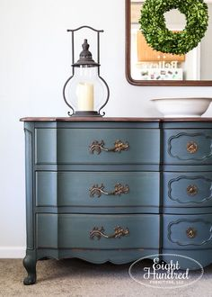 This French Provincial buffet was painted in a custom blend of Boxwood and Artissimo by Miss Mustard Seed's Milk Paint. French Provincial Bedroom, French Provincial Furniture, French Furniture, Painted Bedroom Furniture, Living Room Furniture, Kitchen Furniture, Milk Paint Furniture, Painting Furniture, Furniture Makeover