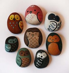 painted owl rocks - attach magnet to back to make them into refrigerator magnets!