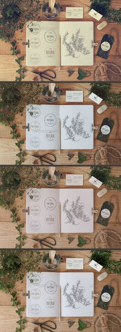 The first stationery mock up in the collection 14 with a garden style