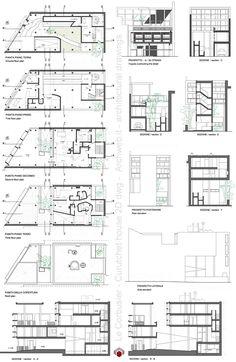 Plan- coupe et élévations de la Maison du Docteur Curutchet par Le Corbusier  http://www.archweb.it/dwg/arch_arredi_famosi/Le_corbusier/currutchet/curutchet_house_dwg.jpg