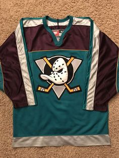0fb6b356ad2 Anaheim Mighty Ducks Vintage Nike NHL Center Ice Authentic Pro Hockey Jersey  L