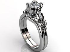 Platinum diamond unusual unique floral engagement ring by Jewelice, $2200.00