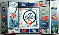 Crafty Maria's Stamping World: Seaside Shore - a double fold display card