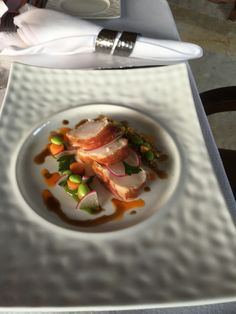 Monk fish fillet wrapped in Prosciutto | spring young vegetables | Lobster Bordelaise |
