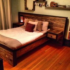 Reclaimed farm wood bed frame