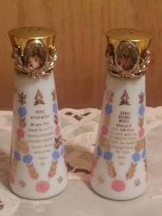 ON SALE Vintage Prayer Salt and Pepper Shakers - pinned by pin4etsy.com