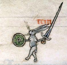 Rabbit/hare warrior, Vincent of Beauvais, Speculum historiale, France ca. 1295 (Boulogne-sur-Mer, BM, ms. 130II, f. 319v)