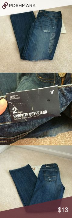 nwt american eagle womens 2 regular favorite boyfr low rise authentic destroy wash 2 regular favorite boyfriend jeans american eagle outfitters.  there is a small dirt stain near the bottom, which will come out in the wash. I did not want to wash them, as they were new with tags American Eagle Outfitters Pants Straight Leg