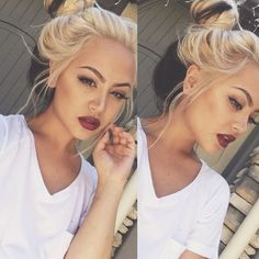 Red lips, dark brows, blonde hair - Picture