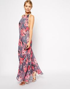 ASOS Floral Print Chiffon Maxi Dress with Cut Out Open Back UK 12 - EU 40 - US 8