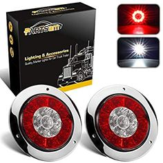 Partsam White 10 LED Reverse Back Up Utility 6 Oval Led Lights Clear Lens 6 Inch Trailer Back-up Led Lights Sealed for Trucks Trailers RVs Boats Jeep Pack of 2