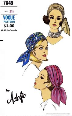 Up for your Pleasure I have this Fabulous VOGUE Millinery hats Sewing pattern. This pattern Reproduction comes to you with an envelope EXACTLY Hat Patterns To Sew, Vintage Sewing Patterns, Sew Pattern, Vintage Vogue, Vintage Hats, Vintage Makeup, Vintage Outfits, Head Scarf Styles, Millinery Hats