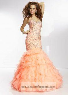 Coral Sequins Ruffle Mermaid Prom Dresses Mori Lee 95076