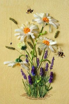 Another beautiful piece of ribbon embroidery - with two exquisite bees and teeny tiny spider.   Image courtesy of http://club.osinka.ru/picture-3151731?p=8721926
