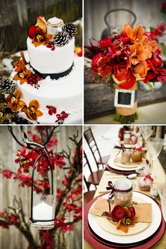 orange and red winter wedding cake and flowers. I love the little pinecones