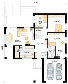 DOM.PL™ - Projekt domu MT Ambrozja 2 CE - DOM ST9-25 - gotowy koszt budowy Floor Plans, How To Plan, Houses, Floor Plan Drawing