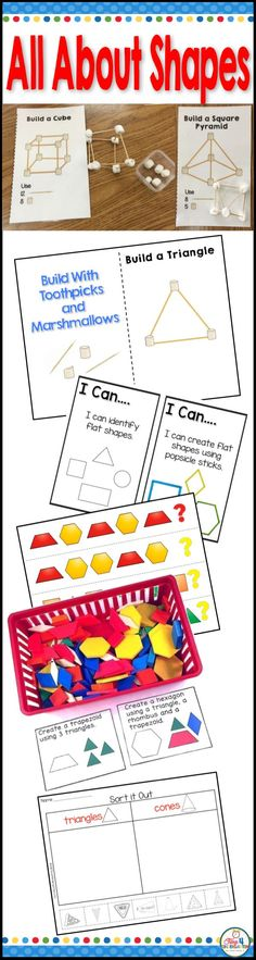 Flat and solid shapes for preschool, kindergarten and first grade. This resources has everything you need to teach 2 and 3 dimensional shapes. It includes the flat shapes of square, circle, triangle, rhombus, rectangle, oval, trapezoid,  and hexagon.  Solid shapes include cone, cube cylinder,  and sphere.  Your pre-k, TK, kindergarteners, and 1st grade students will love learning all about geometry with these fun games, posters, worksheets, puzzles, task cards and hands on  STEM activities.