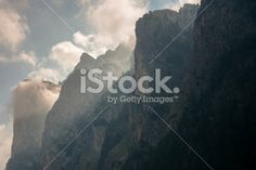 Morning Clouds around Dolomites peaks Royalty Free Stock Photo