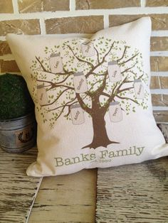 Mason Jar  Family Tree Pillow Personalized by SimplyFrenchMarket, $45.00