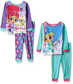Nickelodeon Girls Shimmer and Shine 4Piece Cotton Pajama Set Purple 12 Months >>> You can get additional details at the image link.