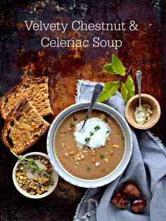 Chestnuts and celeriac bring out the best in each other in this luxurious, velvety smooth low calorie winter soup. Add an easy foam, plus horseradish-truffle toast to make it fancy - even on a wet weekday afternoon. The soup is gluten-free and vegan. Clean Recipes, Real Food Recipes, Soup Recipes, Healthy Recipes, Fall Recipes, Delicious Recipes, Healthy Food, Healthy Eating, Celeriac Soup