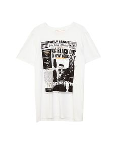 54a0ae535a8 Newspaper print T-shirt - T-shirts - Clothing - Man - PULL BEAR Indonesia