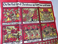 Vintage Twelve Days of Christmas Tea Dish Kitchen Towel by Ulster - Christmas Lyrics Graphics  Holiday Decor Linens Wall Hanging Gift by shabbyshopgirls on Etsy