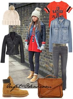 Jacket, skinny leg, Fur Pom Beanie, Timberland Boots and Vintage Leather Satchel