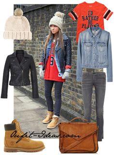 Jacket, skinny leg, Fur Pom Beanie, Timberland Boots and Vintage Leather Satchel