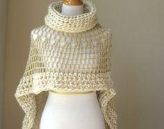 1 Beige Bohemian Poncho Crochet Knit Cream Cape Shawl Turtleneck Boho Chic Hippie Feminine Capelet Chic Romantic Fall Fashion Sale